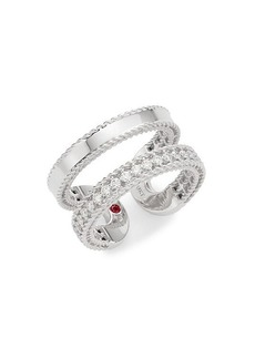 Roberto Coin 18K White Gold, Diamond, & Ruby Ring