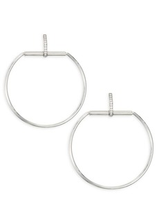 Roberto Coin Classic Parisienne Large Circle Diamond and 18K White Gold Earrings