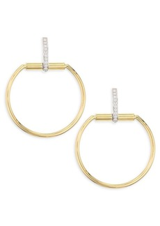 Roberto Coin Classic Parisienne Medium Circle Diamond, 18K White Gold and 18K Yellow Gold Earrings