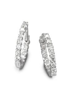 """Roberto Coin Diamond & 18K White Gold Hoop Earrings/0.5"""""""