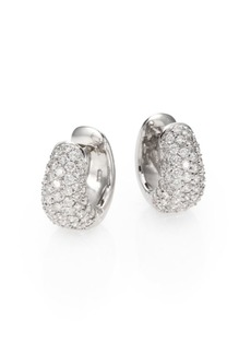 Roberto Coin Diamond & 18K White Gold Huggie Hoop Earrings/0.5""