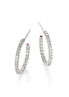 """Roberto Coin Diamond & 18K White Gold Inside-Outside Hoop Earrings/0.5"""""""