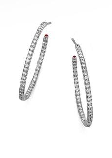"""Roberto Coin Diamond & 18K White Gold Large Hoop Earrings/1"""""""