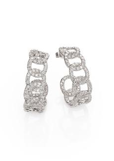 Roberto Coin Diamond & 18K White Gold Link J-Hoop Earrings