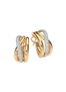 Roberto Coin Diamond, 18K White & Yellow Gold Crossover J-Hoop Earrings