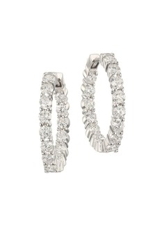 Roberto Coin 2.35 TCW Diamond and 18K White Gold Inside-Out Hoop Earrings
