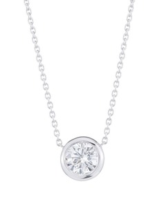 Roberto Coin Diamond By The Inch 18K White Gold & Diamond Circle Pendant Necklace