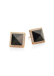 Roberto Coin Obelisco Jade 18K Gold Stud Earrings