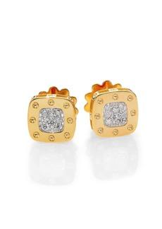 Roberto Coin Pois Moi Diamond & 18K Yellow Gold Square Earrings