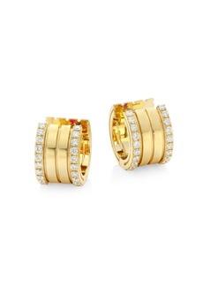 Roberto Coin Portofino Diamond & 18K Yellow Gold Hoop Earrings