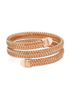 Roberto Coin Primavera 18K Rose Gold, Mother-Of-Pearl & Diamond Coiled Cuff Bracelet