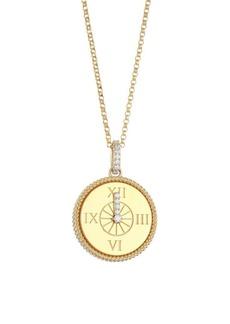 Disney x Roberto Coin Princess Cinderella 18K Yellow Gold & Diamond Clock Pendant Necklace
