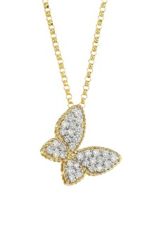 Roberto Coin Princess Treasures Diamond, 18K Yellow Gold and 18K White Gold Butterfly Pendant Necklace