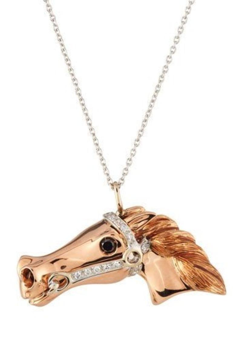 Roberto coin roberto coin 18k rose white gold diamond horse roberto coin 18k rose white gold diamond horse pendant necklace aloadofball Choice Image