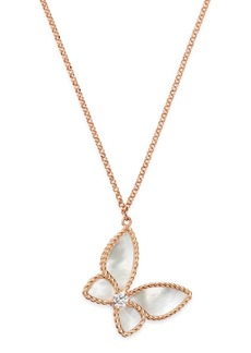 """Roberto Coin 18K Rose Gold Mother-of-Pearl & Diamond Butterfly Pendant Necklace, 16"""" - 100% Exclusive"""