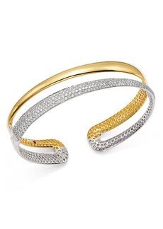 Roberto Coin 18K White & Yellow Gold Scalare Half Pav� Diamond Kick Cuff