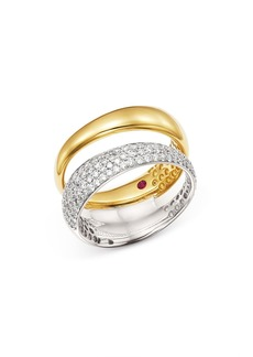 Roberto Coin 18K White & Yellow Gold Scalare Pav� Diamond Double Ring