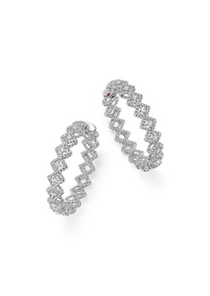 Roberto Coin 18K White Gold New Barocco Diamond Hoop Earrings