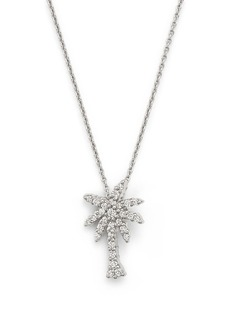 Roberto Coin 18K White Gold Palm Tree Pendant Necklace with Diamonds, 16""