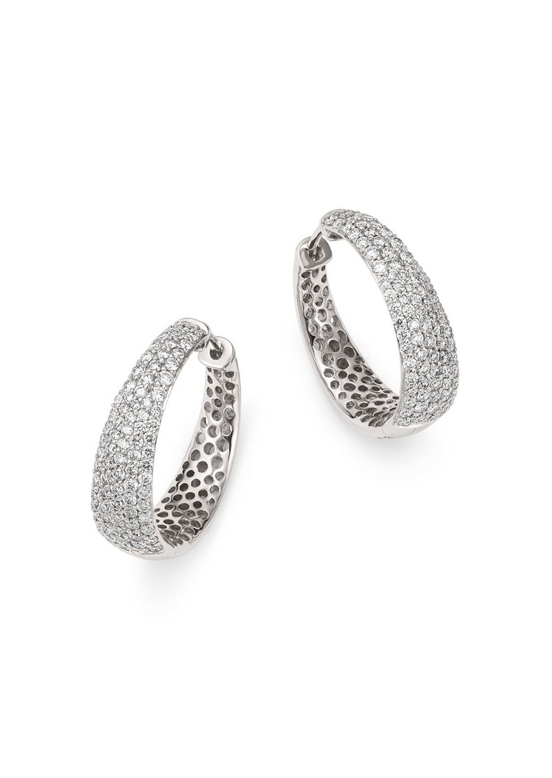 Roberto Coin 18K White Gold Scalare Diamond Hoop Earrings
