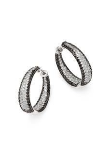 Roberto Coin 18K White Gold Scalare White & Black Diamond Hoop Earrings