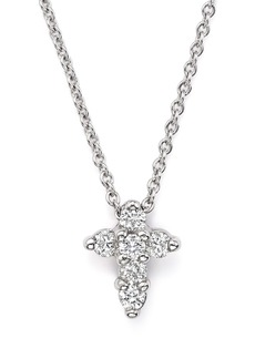"""Roberto Coin 18K White Gold Small Cross Pendant Necklace with Diamonds, 16"""""""