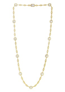 """Roberto Coin 18K Yellow Gold New Barocco Diamond Station Necklace, 32"""""""