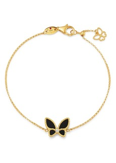 Roberto Coin 18K Yellow Gold Onyx & Diamond Butterfly Chain Bracelet - 100% Exclusive