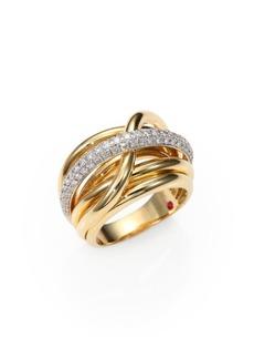 Roberto Coin Classica Diamond & 18K Yellow Gold Crossover Ring
