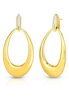 Roberto Coin Classico Oro Diamond Hoop Earrings
