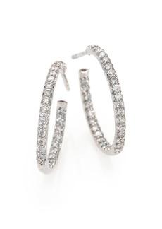 """Roberto Coin Diamond & 18K White Gold Inside-Outside Hoop Earrings/0.75"""""""