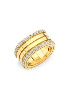 Roberto Coin Portofino Diamond & 18K Yellow Gold Double-Row Band Ring