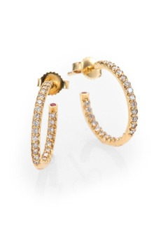 "Roberto Coin Diamond & 18K Yellow Gold Hoop Earrings/0.7"""