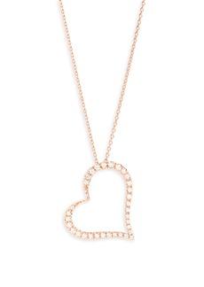 Roberto Coin Diamond Slant Heart Pendant Necklace