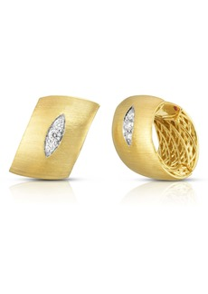 Roberto Coin Golden Gate Pavé Diamond Huggie Hoop Earrings