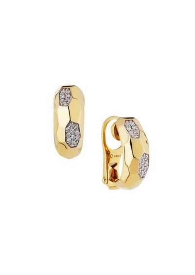 c0577a7c6bda8f Roberto Coin Roberto Coin Martellato 18k Diamond Half-Hoop Earrings