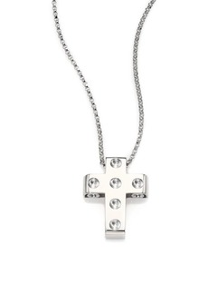 Roberto Coin Pois Moi 18K White Gold Cross Pendant Necklace