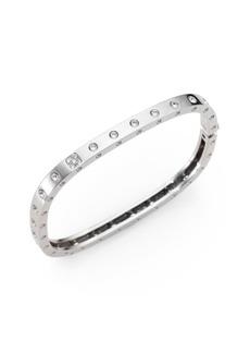 Roberto Coin Pois Moi Diamond & 18K White Gold Single-Row Bangle Bracelet