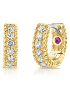 Roberto Coin Roman Barocco Diamond Huggie Hoop Earrings