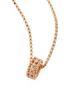 Roberto Coin Symphony Braided Diamond & 18K Rose Gold Pendant Necklace