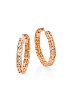 "Roberto Coin Symphony Diamond & 18K Rose Gold Hoop Earrings/0.75"""