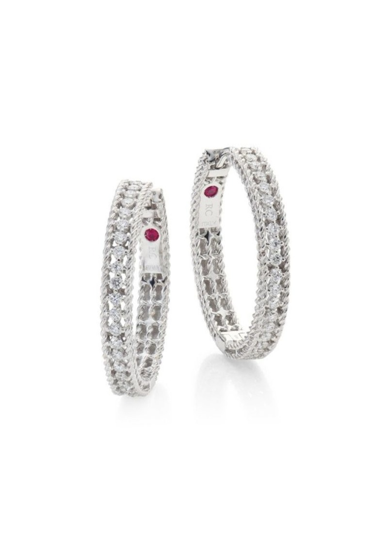 f27908d2a Roberto Coin Symphony Diamond & 18K White Gold Hoop Earrings/0.75 ...