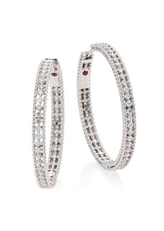 Roberto Coin Symphony Large Diamond & 18K White Gold Hoop Earrings/1.25""