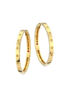 Roberto Coin Symphony Pois Mois Large 18K Yellow Gold Hoop Earrings