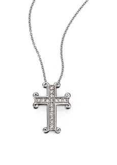 Roberto Coin Tiny Treasures Diamond & 18K White Gold Cross Pendant Necklace