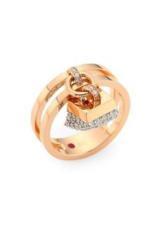 Roberto Coin Sauvage Privé 18K Rose Gold & Diamond Pavé Charm Ring