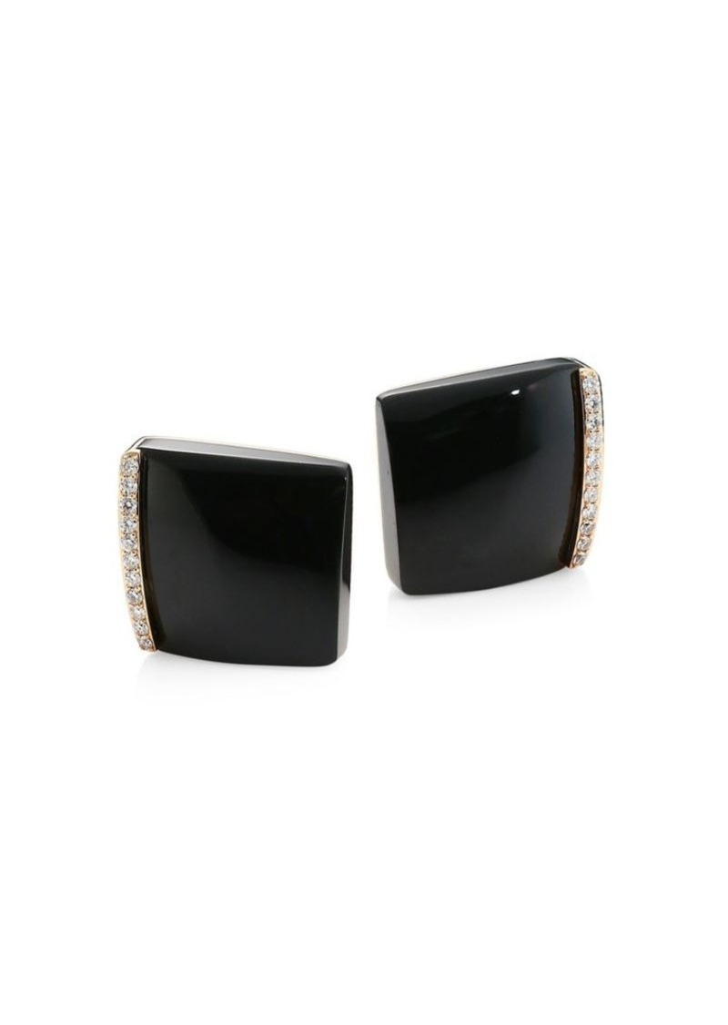 Roberto Coin Sauvage Prive 18k Rose Gold Black Jade Diamond Square Stud Earrings