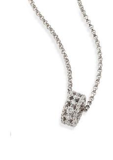 Roberto Coin Symphony 18K White Gold & Diamond Circular Pendant Necklace