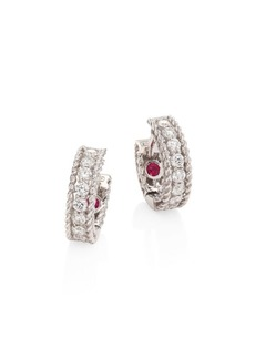 "Roberto Coin Symphony Braided Diamond & 18K White Gold Huggie Hoop Earrings/0.3"""