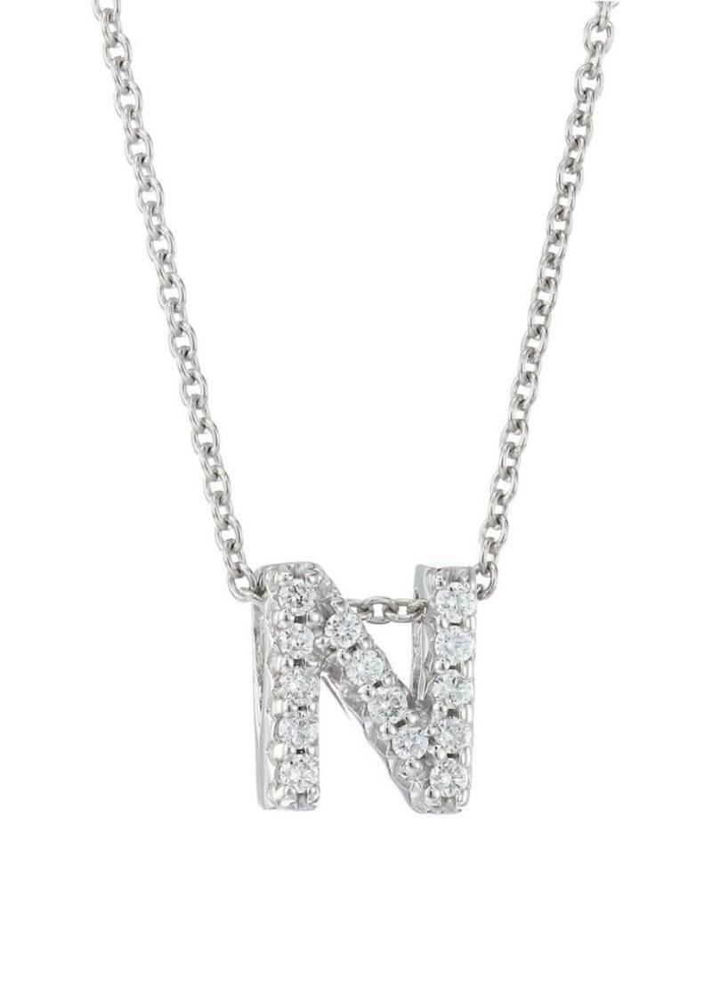 Roberto Coin Tiny Treasures 18K White Gold & Diamond Love Letter-N Necklace